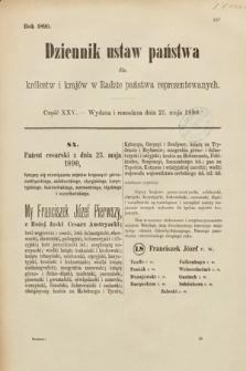 Dziennik Ustaw Państwa dla Królestw i Krajów w Radzie Państwa Reprezentowanych. 1890, cz.25