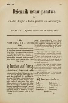 Dziennik Ustaw Państwa dla Królestw i Krajów w Radzie Państwa Reprezentowanych. 1890, cz.48