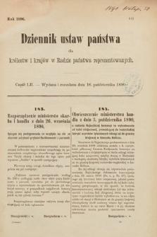 Dziennik Ustaw Państwa dla Królestw i Krajów w Radzie Państwa Reprezentowanych. 1890, cz.52