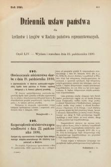Dziennik Ustaw Państwa dla Królestw i Krajów w Radzie Państwa Reprezentowanych. 1890, cz.54
