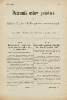 Dziennik Ustaw Państwa dla Królestw i Krajów w Radzie Państwa Reprezentowanych. 1890, cz.62