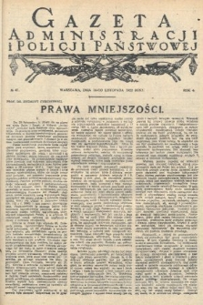Gazeta Administracjii Policji Państwowej. 1922, nr47