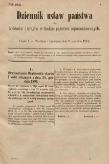 Dziennik Ustaw Państwa dla Królestw i Krajów w Radzie Państwa Reprezentowanych. 1900, cz.1