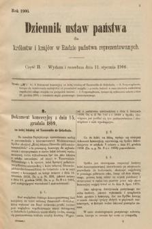 Dziennik Ustaw Państwa dla Królestw i Krajów w Radzie Państwa Reprezentowanych. 1900, cz.2