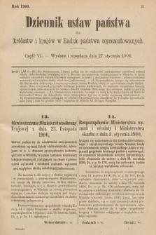 Dziennik Ustaw Państwa dla Królestw i Krajów w Radzie Państwa Reprezentowanych. 1900, cz.6