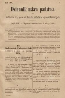 Dziennik Ustaw Państwa dla Królestw i Krajów w Radzie Państwa Reprezentowanych. 1900, cz.8