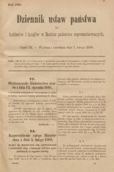Dziennik Ustaw Państwa dla Królestw i Krajów w Radzie Państwa Reprezentowanych. 1900, cz.9