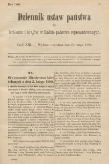 Dziennik Ustaw Państwa dla Królestw i Krajów w Radzie Państwa Reprezentowanych. 1900, cz.13