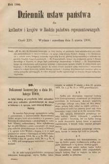 Dziennik Ustaw Państwa dla Królestw i Krajów w Radzie Państwa Reprezentowanych. 1900, cz.14