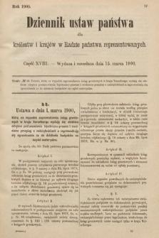 Dziennik Ustaw Państwa dla Królestw i Krajów w Radzie Państwa Reprezentowanych. 1900, cz.18