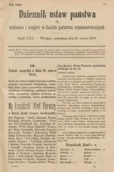 Dziennik Ustaw Państwa dla Królestw i Krajów w Radzie Państwa Reprezentowanych. 1900, cz.22