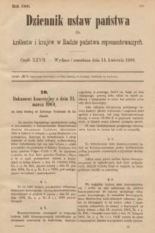 Dziennik Ustaw Państwa dla Królestw i Krajów w Radzie Państwa Reprezentowanych. 1900, cz.27