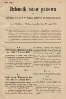 Dziennik Ustaw Państwa dla Królestw i Krajów w Radzie Państwa Reprezentowanych. 1900, cz.34