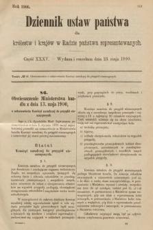 Dziennik Ustaw Państwa dla Królestw i Krajów w Radzie Państwa Reprezentowanych. 1900, cz.35