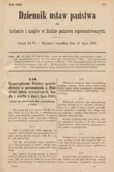 Dziennik Ustaw Państwa dla Królestw i Krajów w Radzie Państwa Reprezentowanych. 1900, cz.46