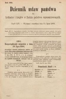 Dziennik Ustaw Państwa dla Królestw i Krajów w Radzie Państwa Reprezentowanych. 1900, cz.54