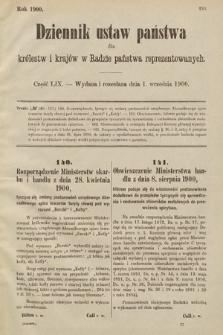 Dziennik Ustaw Państwa dla Królestw i Krajów w Radzie Państwa Reprezentowanych. 1900, cz.59
