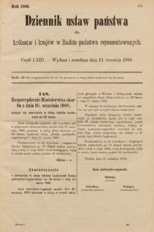 Dziennik Ustaw Państwa dla Królestw i Krajów w Radzie Państwa Reprezentowanych. 1900, cz.63