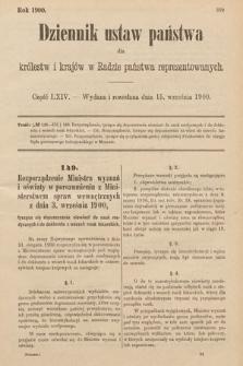 Dziennik Ustaw Państwa dla Królestw i Krajów w Radzie Państwa Reprezentowanych. 1900, cz.64