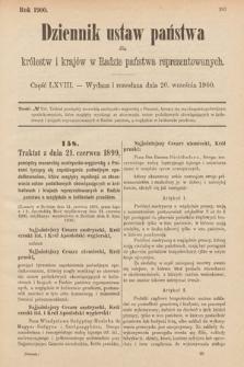 Dziennik Ustaw Państwa dla Królestw i Krajów w Radzie Państwa Reprezentowanych. 1900, cz.68