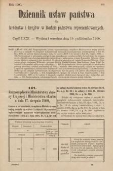 Dziennik Ustaw Państwa dla Królestw i Krajów w Radzie Państwa Reprezentowanych. 1900, cz.71