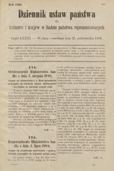 Dziennik Ustaw Państwa dla Królestw i Krajów w Radzie Państwa Reprezentowanych. 1900, cz.73