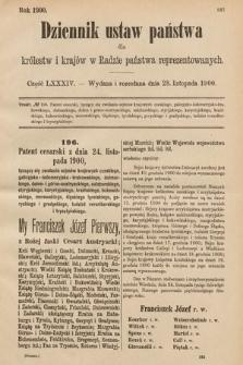 Dziennik Ustaw Państwa dla Królestw i Krajów w Radzie Państwa Reprezentowanych. 1900, cz.84