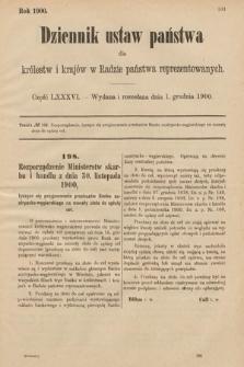 Dziennik Ustaw Państwa dla Królestw i Krajów w Radzie Państwa Reprezentowanych. 1900, cz.86