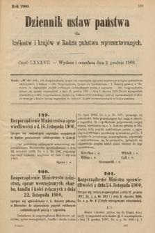 Dziennik Ustaw Państwa dla Królestw i Krajów w Radzie Państwa Reprezentowanych. 1900, cz.87