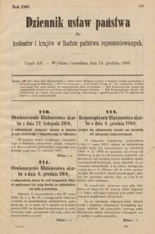 Dziennik Ustaw Państwa dla Królestw i Krajów w Radzie Państwa Reprezentowanych. 1900, cz.90