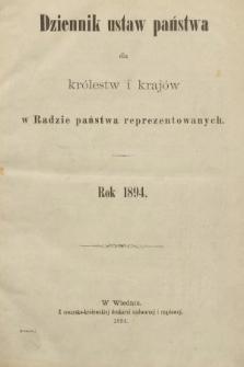Dziennik Ustaw Państwa dla Królestw i Krajów w Radzie Państwa Reprezentowanych. 1894 [całość]