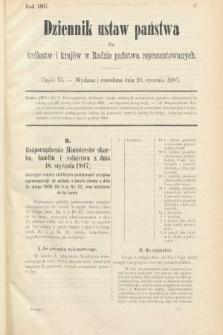 Dziennik Ustaw Państwa dla Królestw i Krajów w Radzie Państwa Reprezentowanych. 1907, cz.6