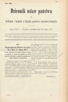 Dziennik Ustaw Państwa dla Królestw i Krajów w Radzie Państwa Reprezentowanych. 1907, cz.24