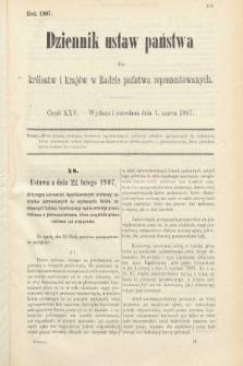 Dziennik Ustaw Państwa dla Królestw i Krajów w Radzie Państwa Reprezentowanych. 1907, cz.25