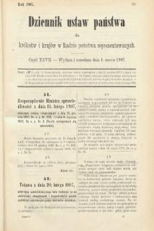 Dziennik Ustaw Państwa dla Królestw i Krajów w Radzie Państwa Reprezentowanych. 1907, cz.27