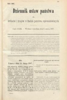 Dziennik Ustaw Państwa dla Królestw i Krajów w Radzie Państwa Reprezentowanych. 1907, cz.29