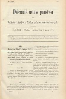 Dziennik Ustaw Państwa dla Królestw i Krajów w Radzie Państwa Reprezentowanych. 1907, cz.30