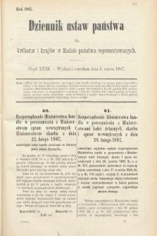 Dziennik Ustaw Państwa dla Królestw i Krajów w Radzie Państwa Reprezentowanych. 1907, cz.31
