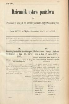 Dziennik Ustaw Państwa dla Królestw i Krajów w Radzie Państwa Reprezentowanych. 1907, cz.36