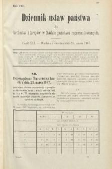 Dziennik Ustaw Państwa dla Królestw i Krajów w Radzie Państwa Reprezentowanych. 1907, cz.41