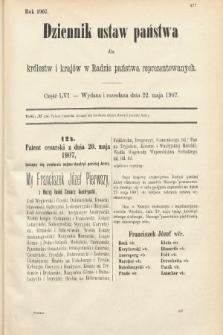 Dziennik Ustaw Państwa dla Królestw i Krajów w Radzie Państwa Reprezentowanych. 1907, cz.56