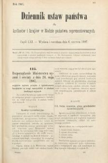 Dziennik Ustaw Państwa dla Królestw i Krajów w Radzie Państwa Reprezentowanych. 1907, cz.61