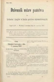 Dziennik Ustaw Państwa dla Królestw i Krajów w Radzie Państwa Reprezentowanych. 1907, cz.65