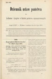 Dziennik Ustaw Państwa dla Królestw i Krajów w Radzie Państwa Reprezentowanych. 1907, cz.74