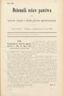 Dziennik Ustaw Państwa dla Królestw i Krajów w Radzie Państwa Reprezentowanych. 1907, cz.76