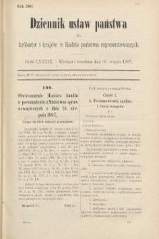 Dziennik Ustaw Państwa dla Królestw i Krajów w Radzie Państwa Reprezentowanych. 1907, cz.89