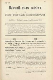 Dziennik Ustaw Państwa dla Królestw i Krajów w Radzie Państwa Reprezentowanych. 1907, cz.90