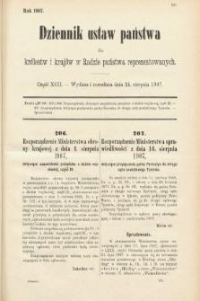 Dziennik Ustaw Państwa dla Królestw i Krajów w Radzie Państwa Reprezentowanych. 1907, cz.92