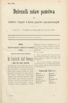 Dziennik Ustaw Państwa dla Królestw i Krajów w Radzie Państwa Reprezentowanych. 1907, cz.101