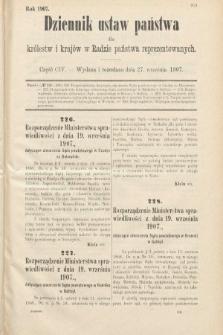 Dziennik Ustaw Państwa dla Królestw i Krajów w Radzie Państwa Reprezentowanych. 1907, cz.104